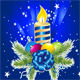 Happy New Year Card with Candle,  Pine and Ball - GraphicRiver Item for Sale