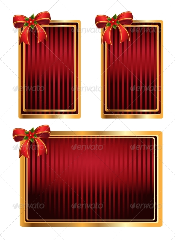 Vector Set of Red Tags with Bow