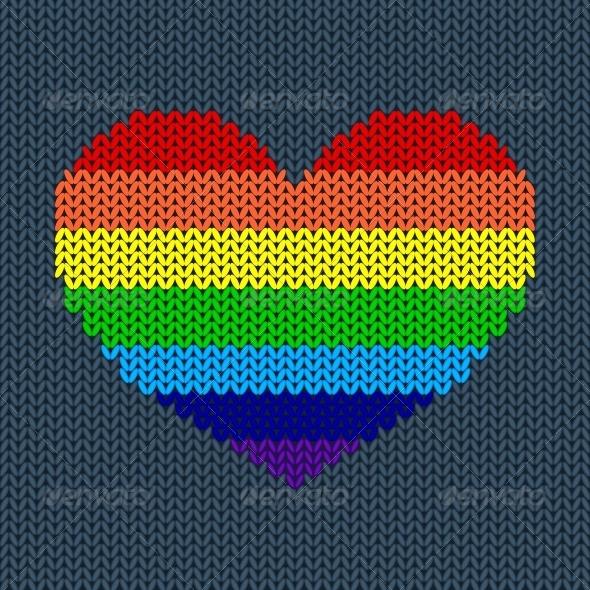 Rainbow Knited Heart