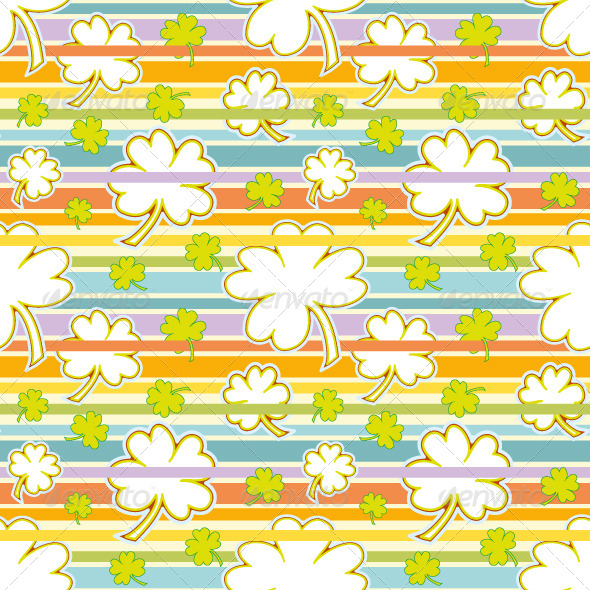 Clover and Rainbow Seamless Pattern