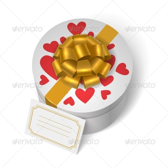 Valentines Present Box with Red Hearts