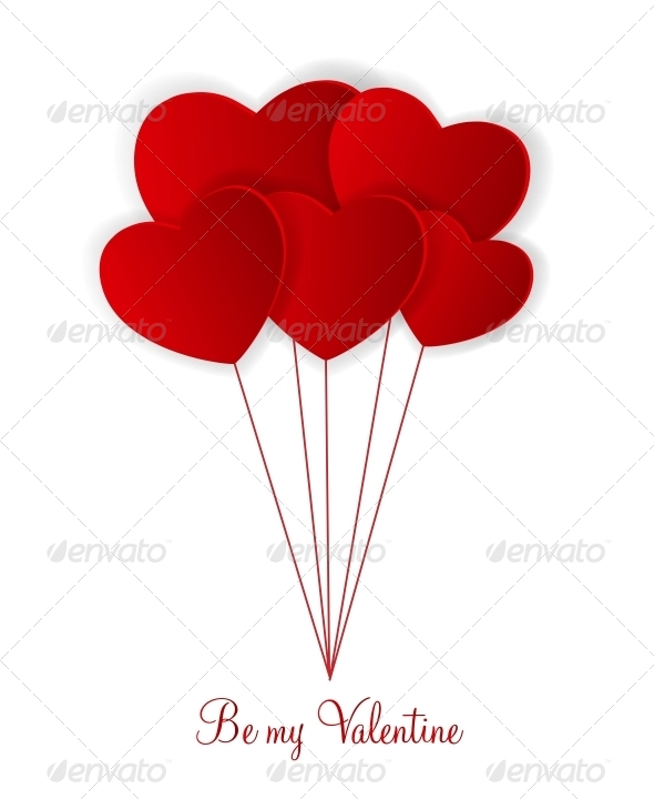 Happy Valentines Day Card with Hearts