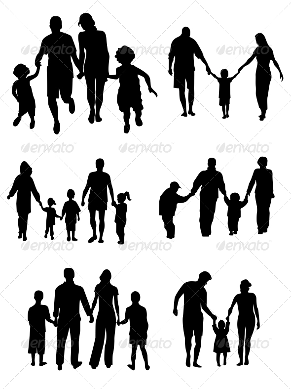 Family Silhouettes - Vector