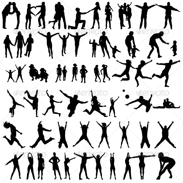 Happy Family Silhouettes - Jumping People