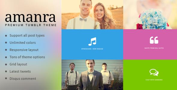 Amanra - Responsive Grid Photography Tumblr Theme