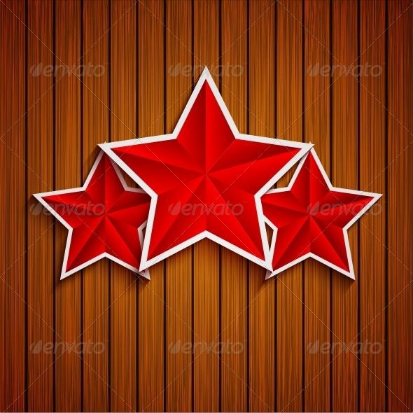 Stars on Wood Background