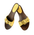 Snake leather wooden wedge yellow sandals - PhotoDune Item for Sale