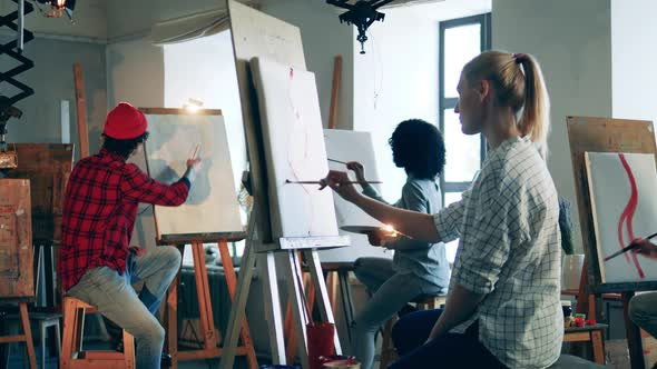 Art Students are Painting During the Class
