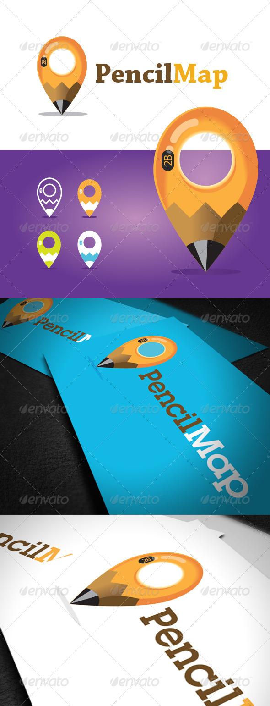 Pencil Map Logo Template
