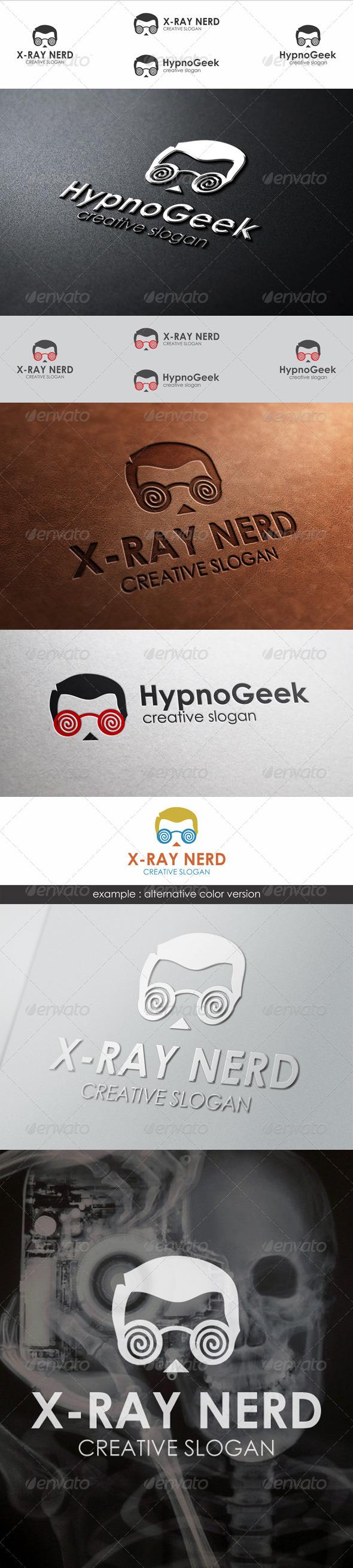 Hypnotic Geek Head Logo Template