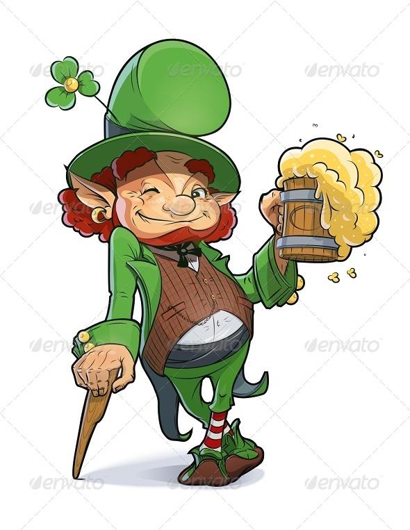 Dwarf with Beer. Illustration For Saint Patricks