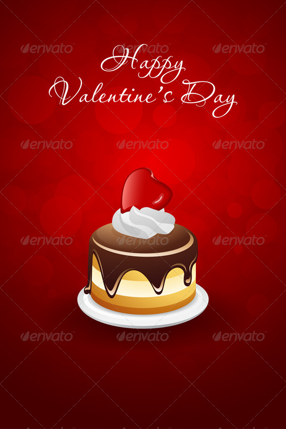 Valentines Day Card with Cake and Red Heart