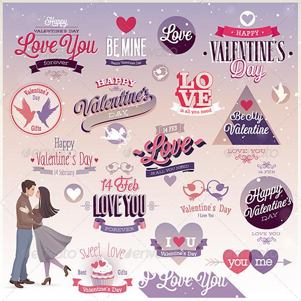Valentines Day Set Emblems and Decorative Elements