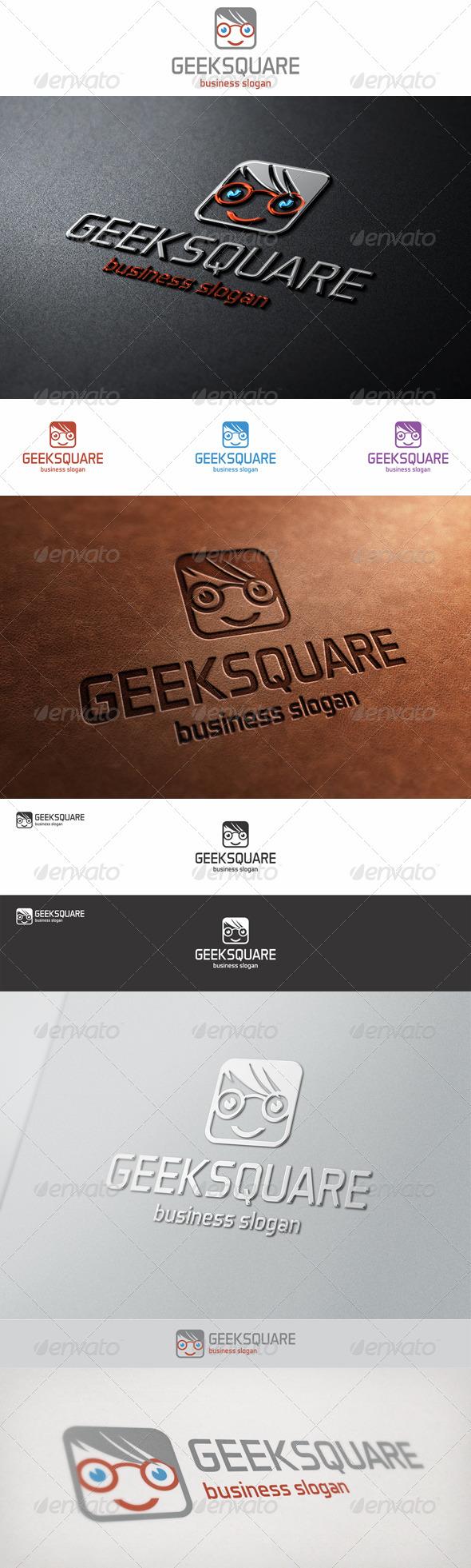 Geek Square Face Logo