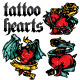 Set of Hearts Tattoo Style - GraphicRiver Item for Sale
