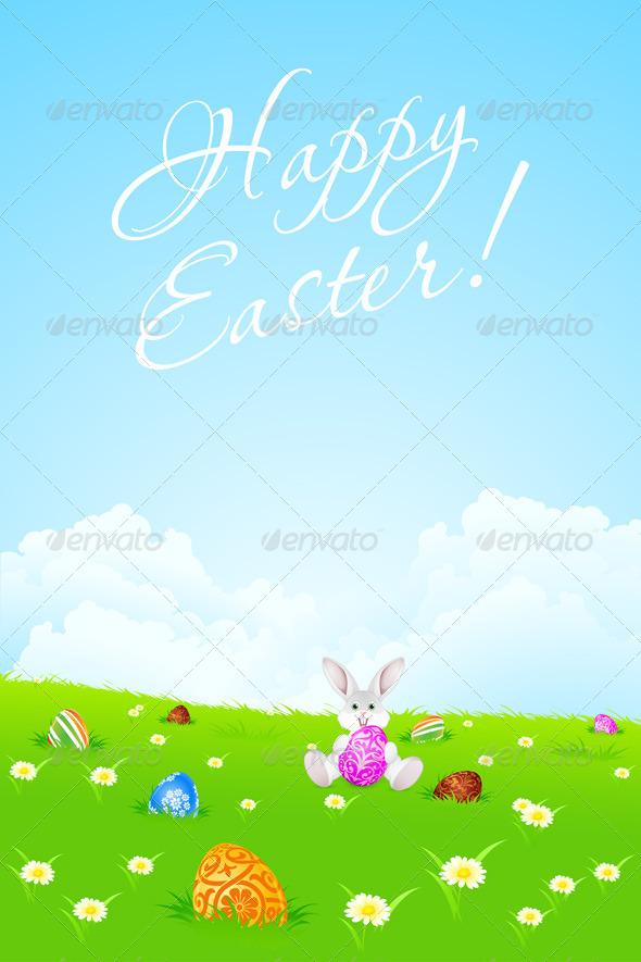 Green Easter Landscape Background