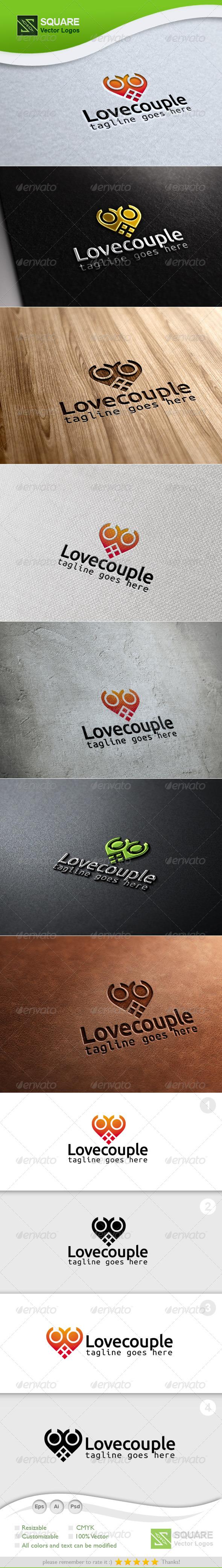 Love, Couple Vector Logo Template