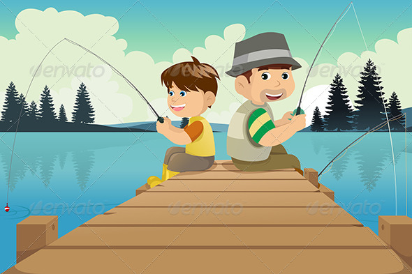 Father and Son Going Fishing in a Lake
