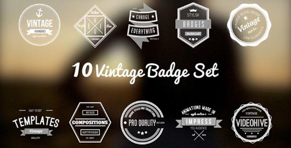 10 Animated Vintage Badges Set