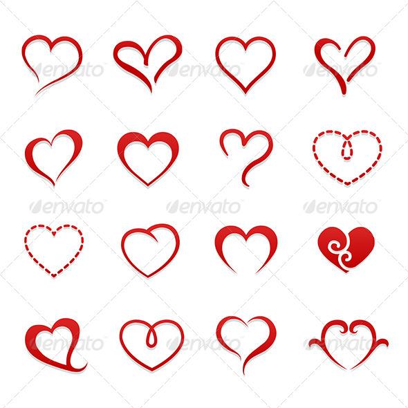 Heart Valentine Symbol Icon Set