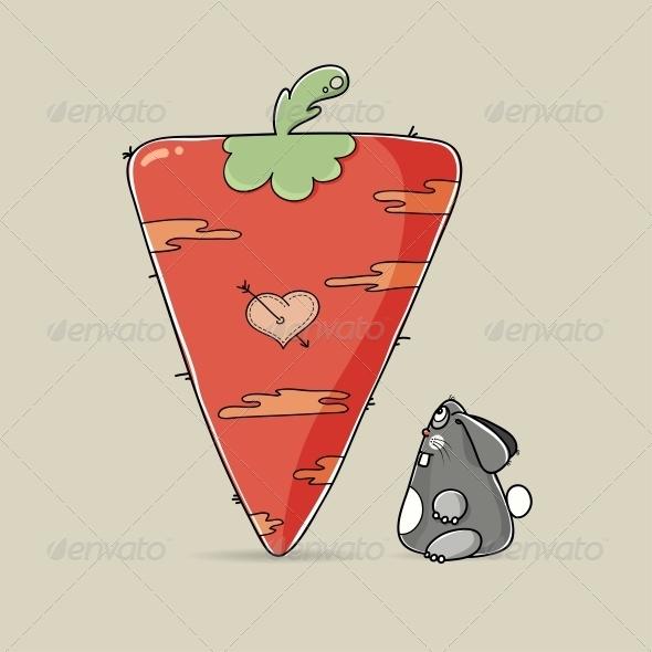 Valentine Rabbit Looking at Big Carrot