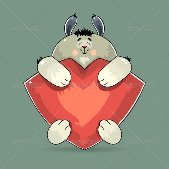 Valentine Rabbit Hugging a Red Heart