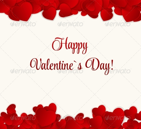 Happy Valentines Day Card with Heart. Vector Illustration