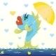 Cartoon Fish with Umbrella - GraphicRiver Item for Sale