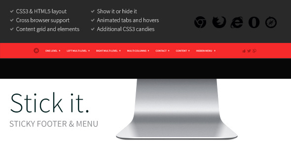 Stick it. HTML5 & CSS3 Sticky Footer & Menu