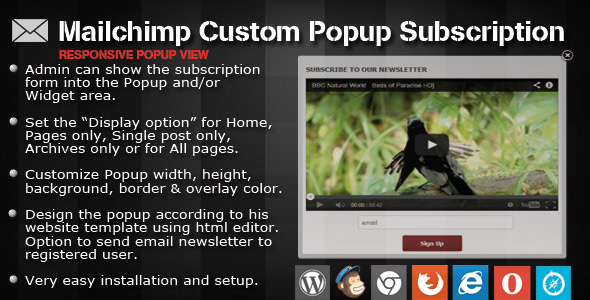 Mailchimp Custom Popup Subscription for wordpress