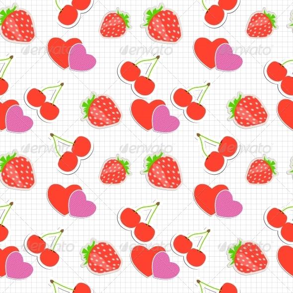Strawberry, Cherry and Heart Seamless Pattern