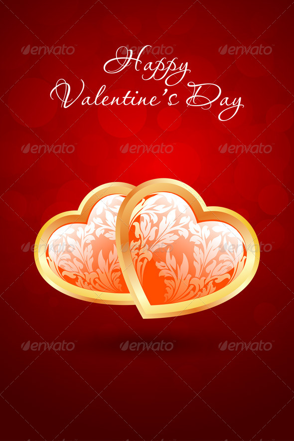 Valentine's Day Background with Floral Hearts