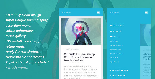 Vibrant: A Super Sharp WordPress Mobile Theme