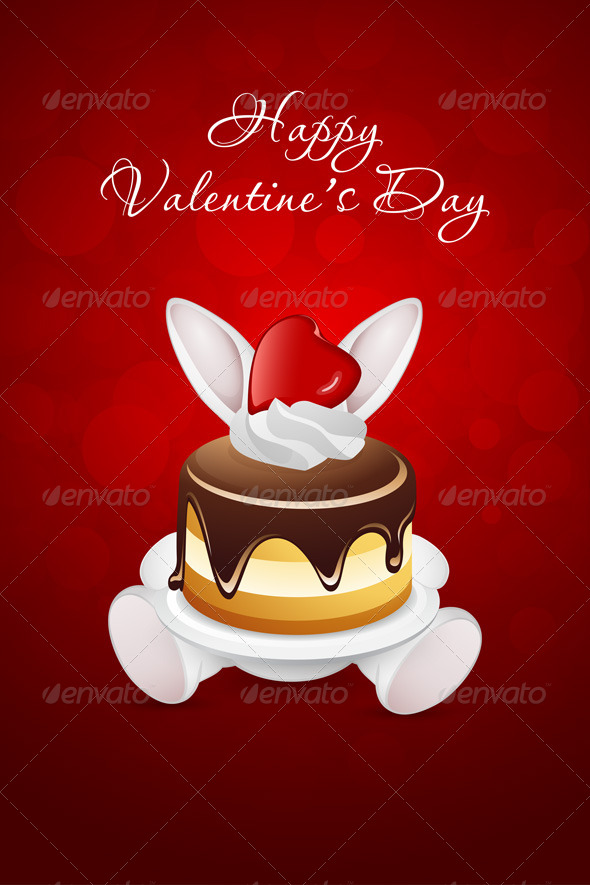 Valentine's Day Card with Rabbit and Cake
