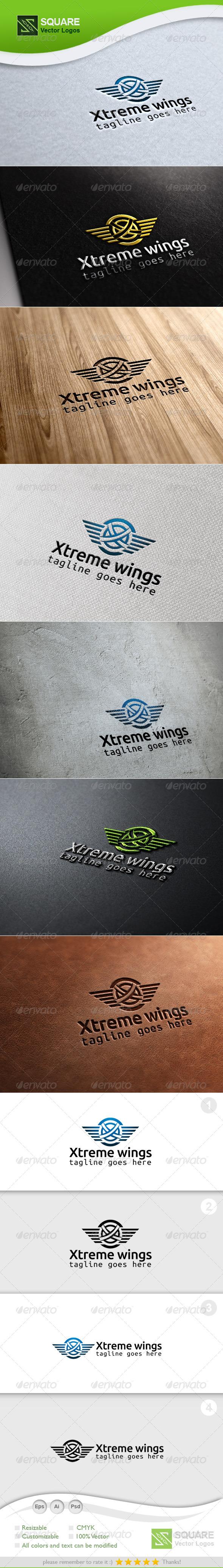 X, Wings Vector Logo Template