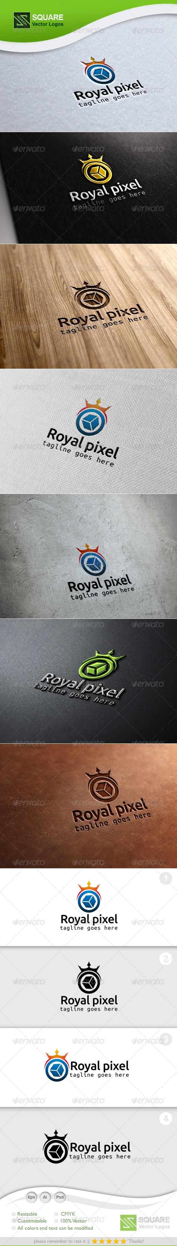 Crown, Pixel Vector Logo Template