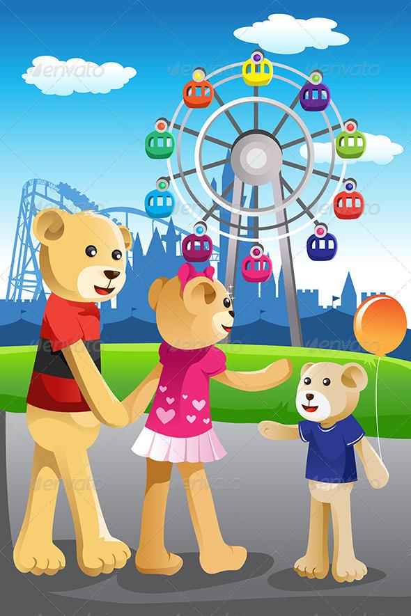 Bear Family Having Fun at Amusement Park