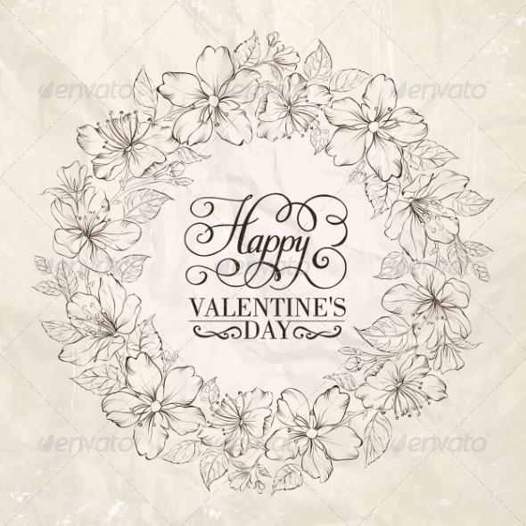 Floral Wreath Valentine Design