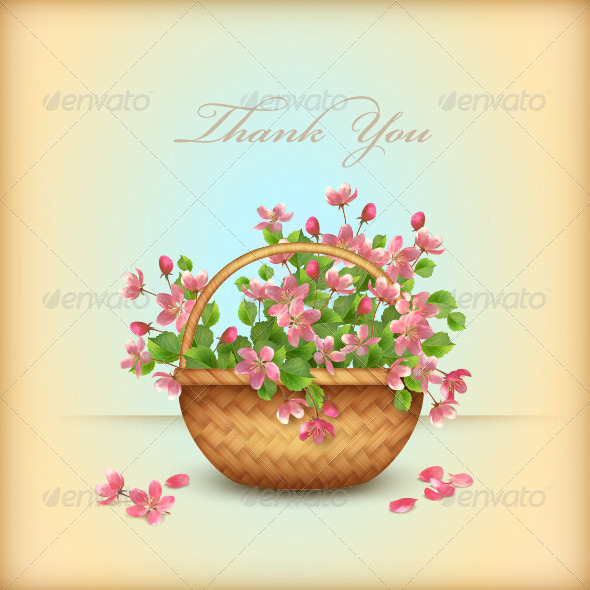 Spring Wicker Basket Cherry Flowers Greeting Card