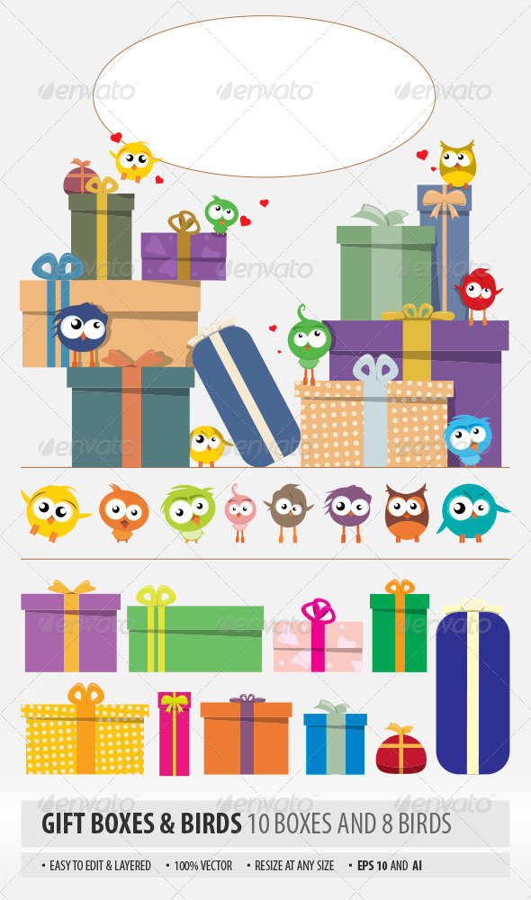 Gift Boxes and Birds