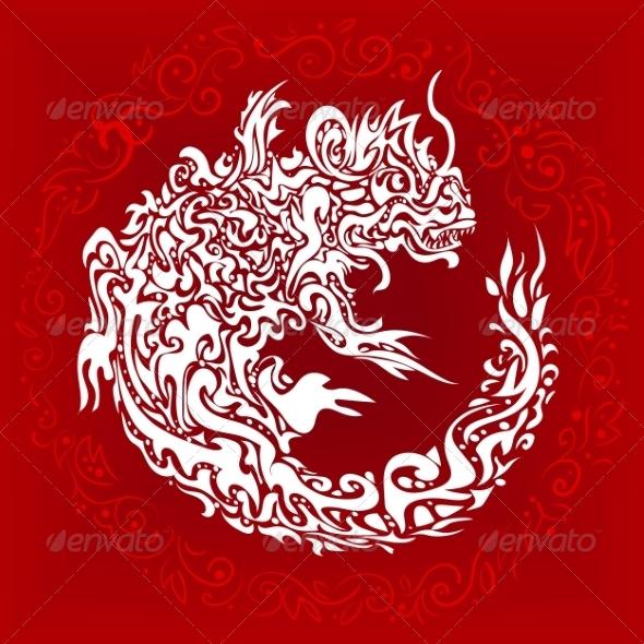 Stylized Twisted Dragon Tattoo