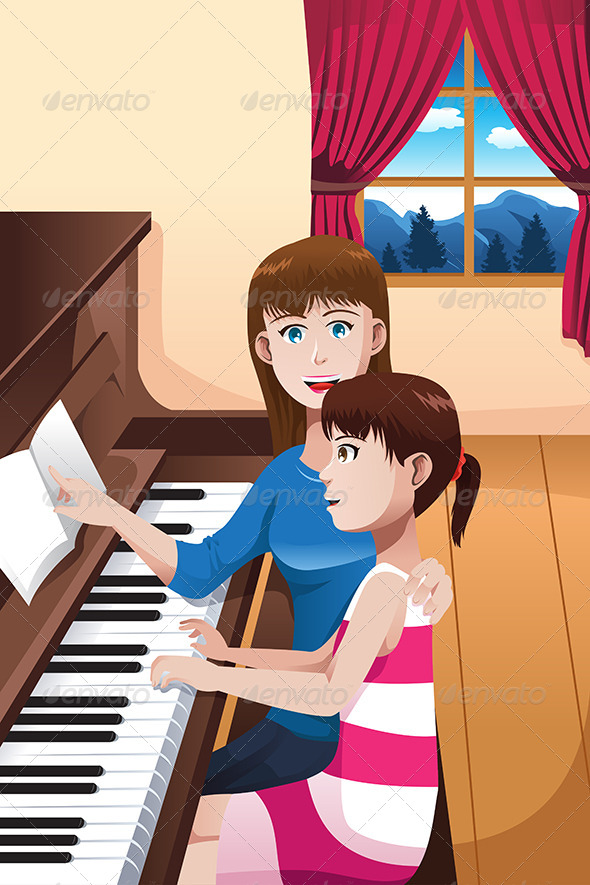 Girl Learning to Play a Piano