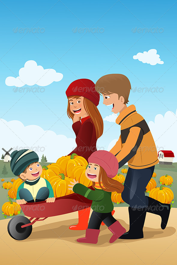 Kids and Their Parents on a Pumpkin Patch