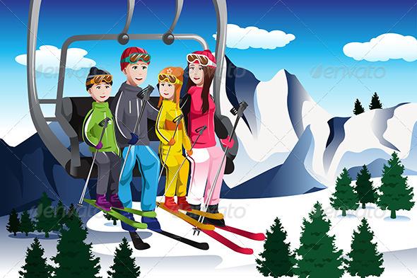 Family Going Skiing Sitting on a Ski lift