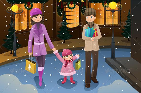 Family doing Christmas Shopping