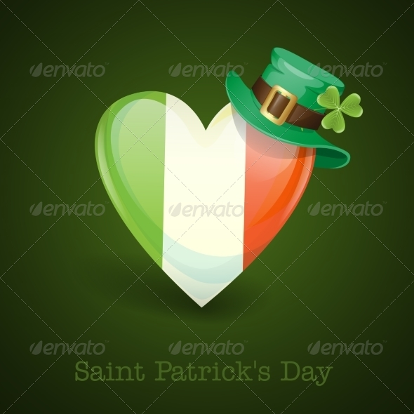 Irish Flag in the Shape of a Heart