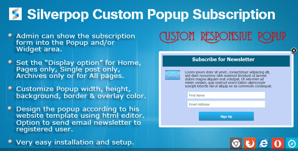 SilverPop Custom Popup Subscription for WordPress