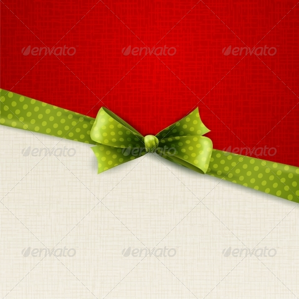 Holiday Background with Green Polka Dots Bow