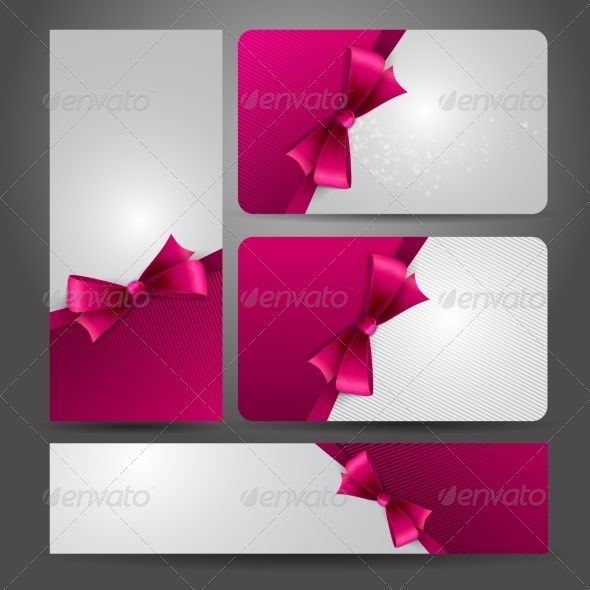 Holiday Gift Card  with Red Ribbons and Bow.