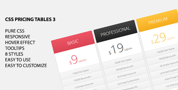 CSS Pricing Tables 3